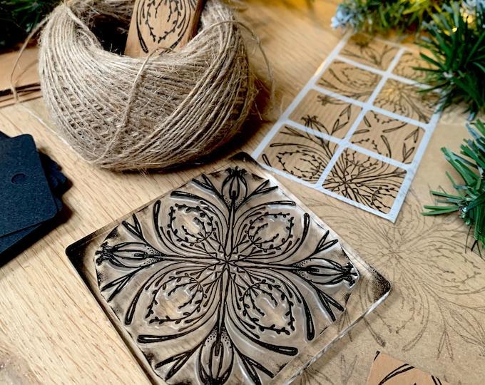 Botanical Tile Rubber Stamp