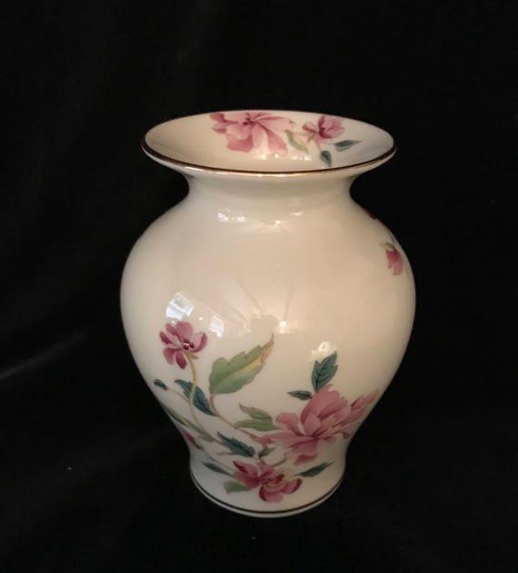 Vintage Lenox Vase Peonies Flowers Gold Trim Made In Usa Etsy