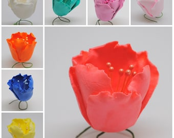 """1"""" Gumpaste Tulips - Various Colors Available! - Fondant Edible Wedding Cake Toppers :)"""