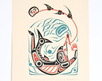 1981 Gitxsan Chief Walter Harris Weget Print 1981 Northwest Native Art