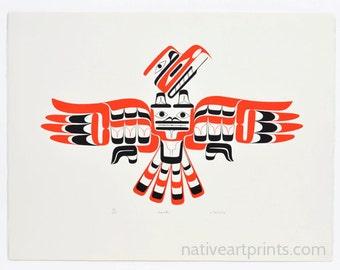 Vintage 1979 Joe David Nuu-chah-nulth Hawk Print Edition of 225 Indian Artists Guild Series Print