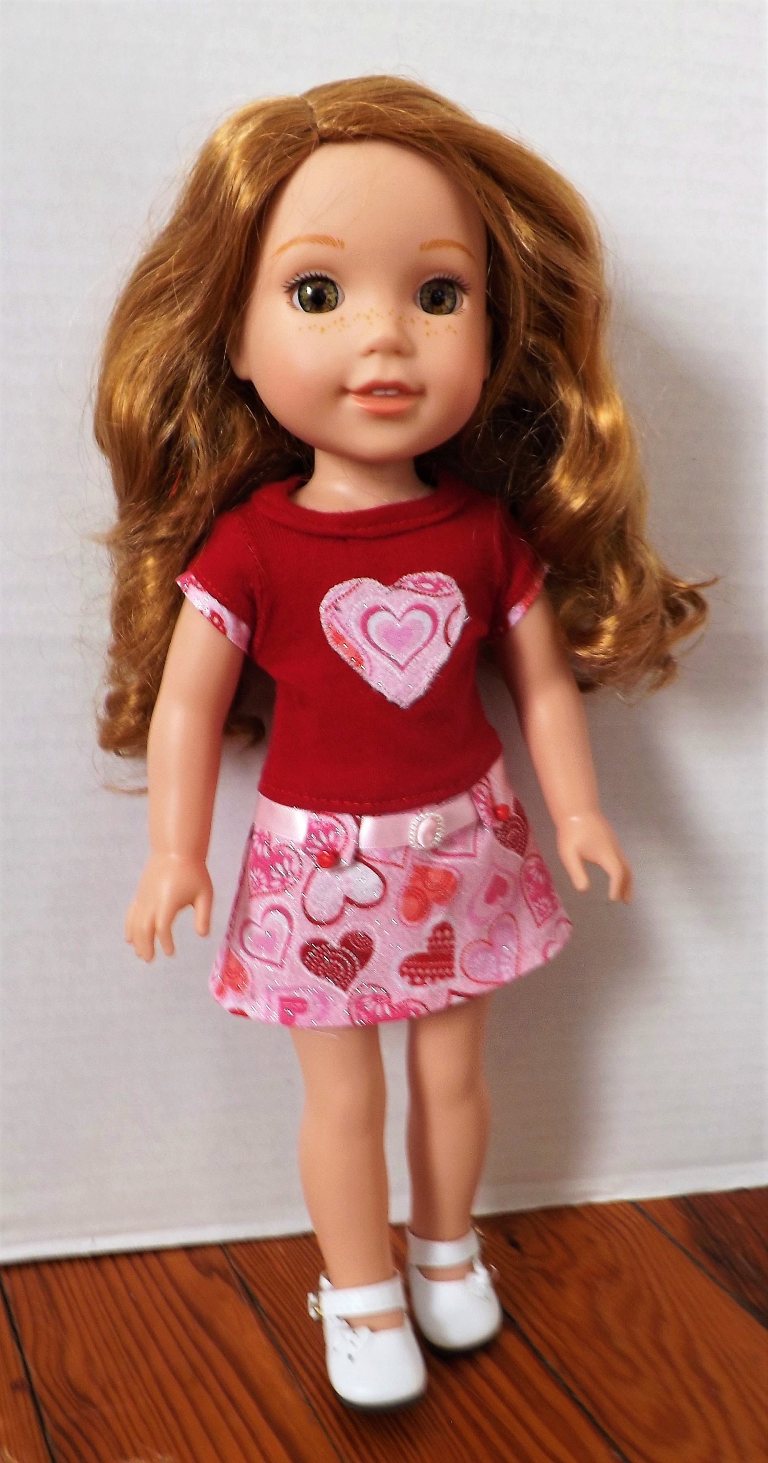 """14.5/"""" Doll Clothes-fit American Girl-Wellie Wishers-Dress-Shimmer Pink"""