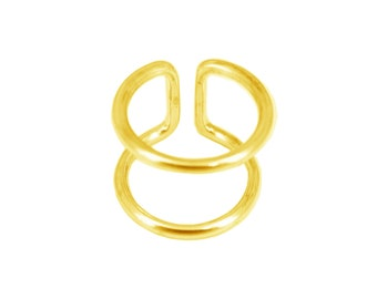 Ring gold plated sterling silver double rings