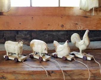 Resin Farm Animals Replica Toys on Wheels set of 4
