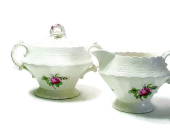 Billingsley Rose  Spodes Cream and Sugar Set, Green Back Stamp, Mid Century, Spodes Completer Piece