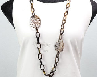 Driftwood and Antique Nail Necklace Mixed Media Fresh Water Pearl