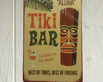 Screw The Cracker Polly Wants a Cocktail Rustic Retro Tiki Bar Decor Tin Sign