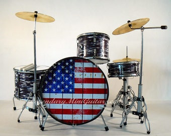 Gift for Musicians - Drummer Gifts - Miniature Drum Kit- Distressed American Flag Miniature drum Kit - 1:6 Scale