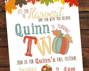 Fall Harvest Birthday Invitation-Pumpkin Patch, Fall, Autumn Halloween theme birthday party invite-Fall leaves Pumpkin Patch Invite