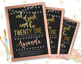 21st Birthday Party Invitation, Rose Gold and Gold Invitation, 21st Birthday Party Girl Theme, 21st birthday invite, female 21 birthday card