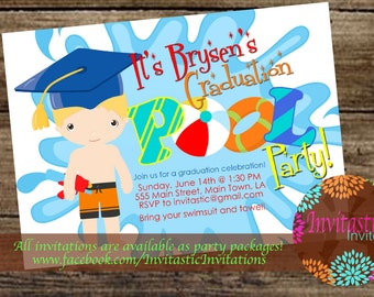 splash park graduation party invitation end of the year party etsy