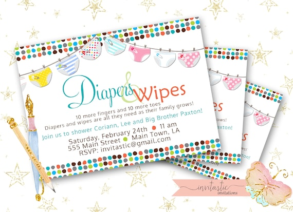 Diaper baby shower invitation diaper and wipe gender neutral etsy image 0 filmwisefo