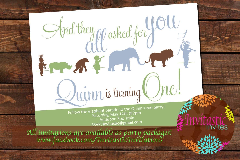 Zoo Birthday Party Invitation Safari Jungle or Zoo Animal | Etsy