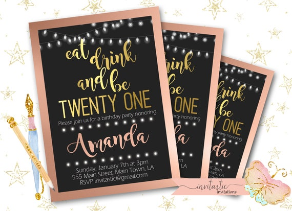 21st Birthday Party Invitation Rose Gold And