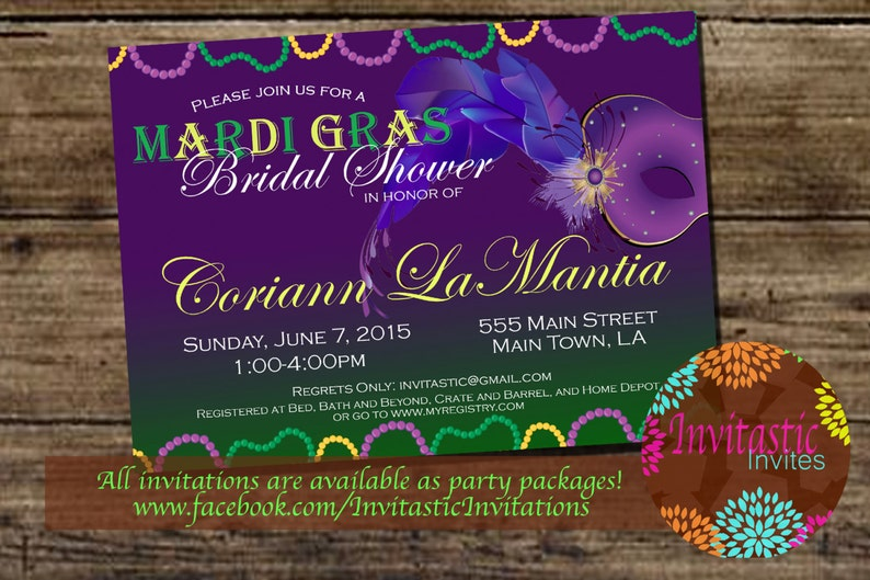37a428685a43 Mardi Gras Theme Bridal Shower Invitation New Orleans Theme
