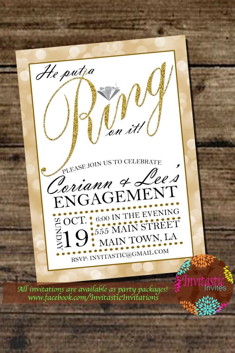 Engagement Party He Put A Ring On It Glitter Engagement Etsy