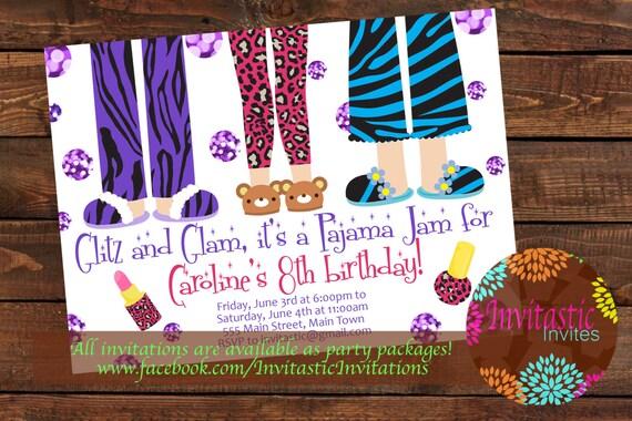 Pajama Birthday Invitation Girls Sleepover Animal Print