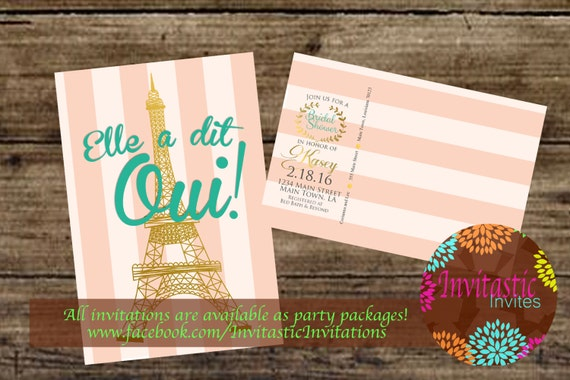 Paris bridal shower invitation postcard 2 sided mail ready etsy image 0 filmwisefo