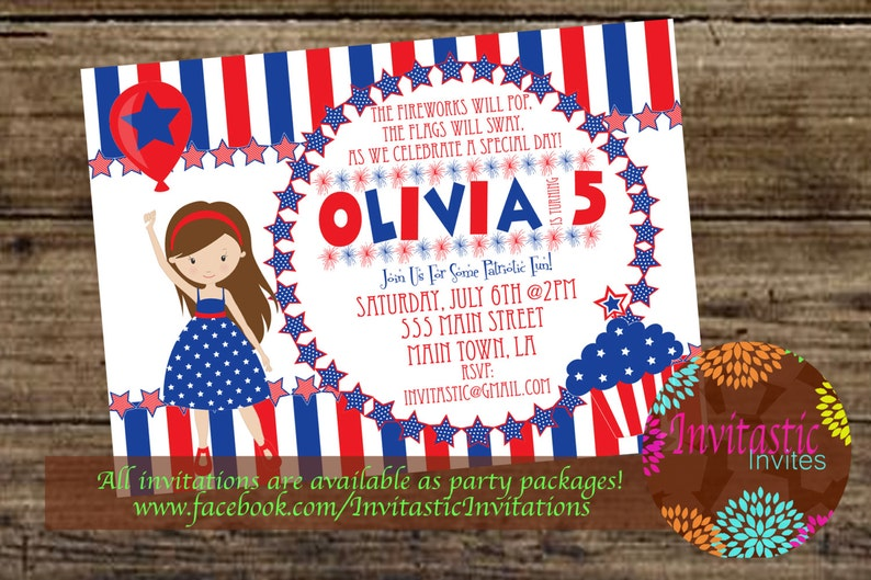 4th Of July Birthday Party Invitation Independence Day