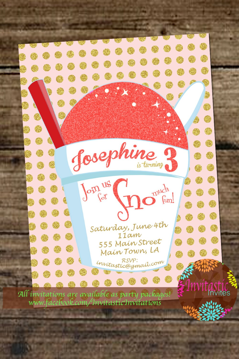 Snoball Birthday Invitation New Orleans Sno Ball Snow Cone