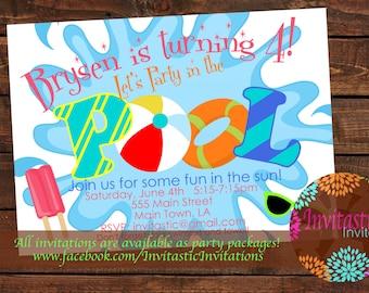 Swim party invite Etsy