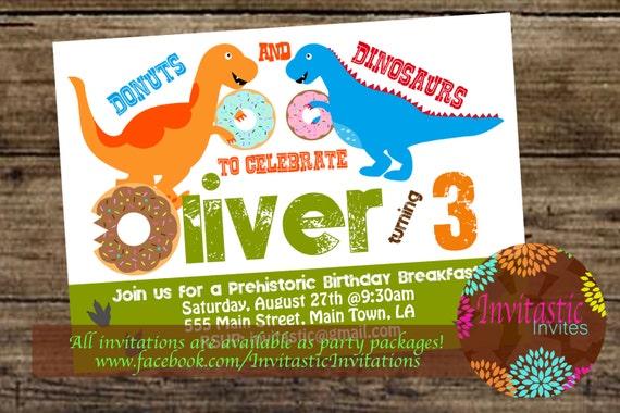 Dinosaur Birthday Invitation Donuts And Dino T Rex