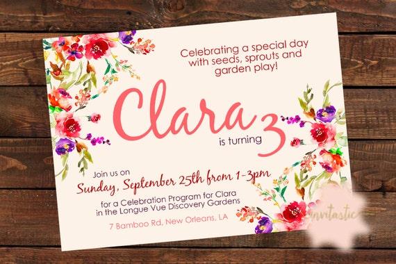 Garden Party Birthday Invitation Floral Garden Flower Fall Flower Theme Printable Birthday Party Invite Girl Garden Party Invitation