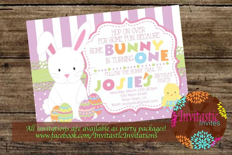 Easter Birthday Invitation Easter Some Bunny Themed Birthday Etsy