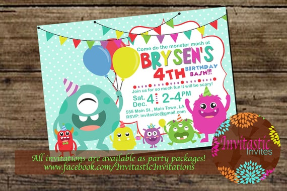 monster birthday party invitation kids monster party come etsy