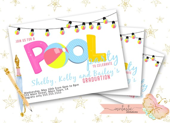 pool party graduation party invitation end of the school year etsy