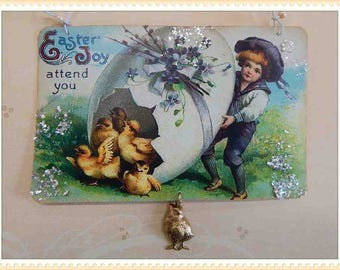 Vintage style Easter ornament, card, decoration, antique, postcard, victorian, paper #E-10