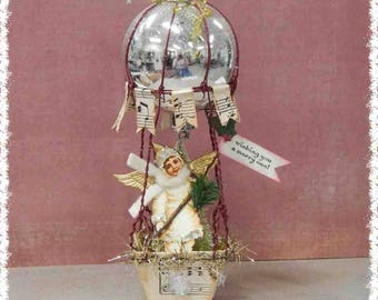 handcrafted snowbaby angel hot air balloon vintage Victorian style Christmas ornament #2