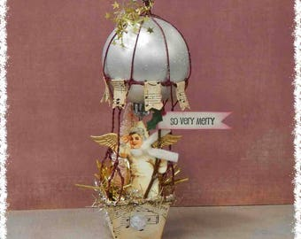 handcrafted snowbaby angel hot air balloon vintage Victorian style Christmas ornament #1