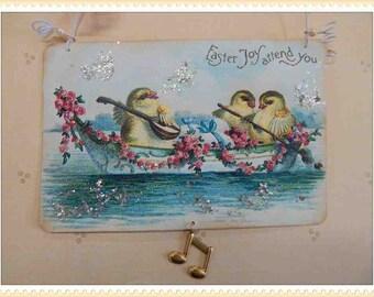 Vintage style Easter ornament, card, decoration, antique, postcard, victorian, paper #E-9