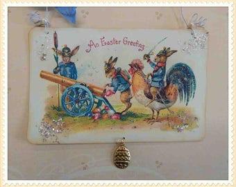 Vintage style Easter ornament, card, decoration, antique, postcard, victorian, paper #E-5