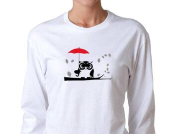 An Owl in the Rain T-shirt Women Long Sleeve