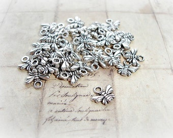 6 Silver Bumble Bee Charms