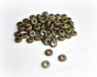 10 Antique Bronze Spacer Beads Cog Wheel