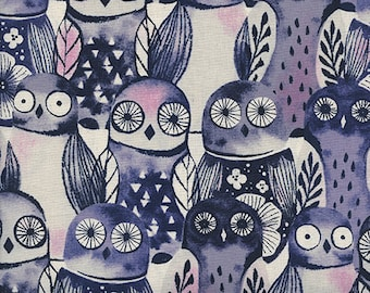 Wise Owls in Night by Sarah Watts from the Eclipse collection for Cotton and Steel #C5195-01 by 1/2 yard