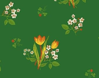 Spring Blooms in Green by Heather Ross from the Kinder collection for Windham #43482-6 by 1/2 yard