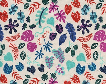 Leafy Wonder in Natural Neon by Rashida Coleman-Hale from the Lagoon collection for Cotton and Steel #1955-03 by 1/2 yard