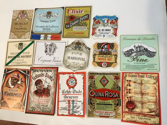 Vintage Oude Klare Spiritueux Liquor Label Old Stock