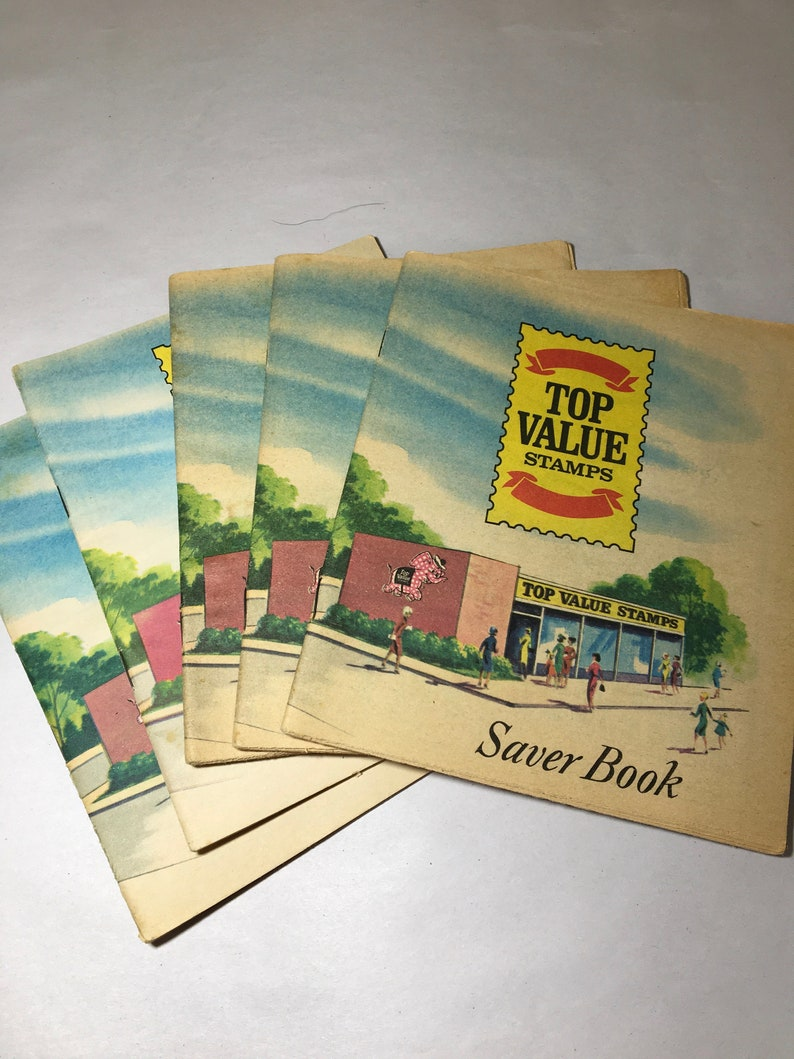 5 TOP VALUE Food Saver Stamp Booklets - Community Green Stamps Books Coupon  saving plans Grocery book booklet (c)
