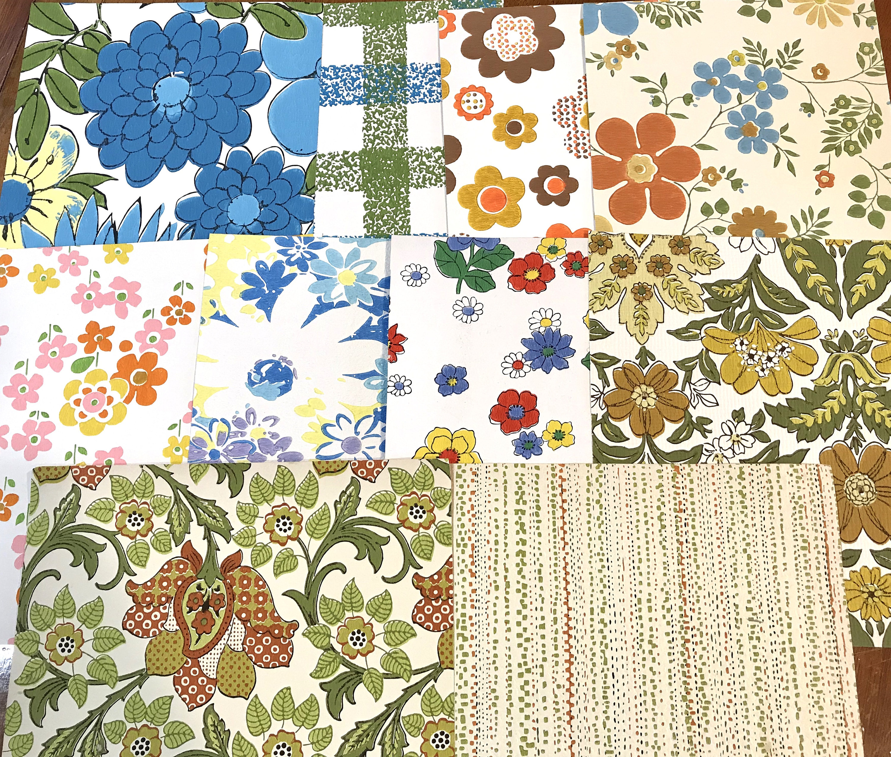 Groovy Floral 70 S Wallpaper Scrap Pack 10 Large 8x10 Etsy