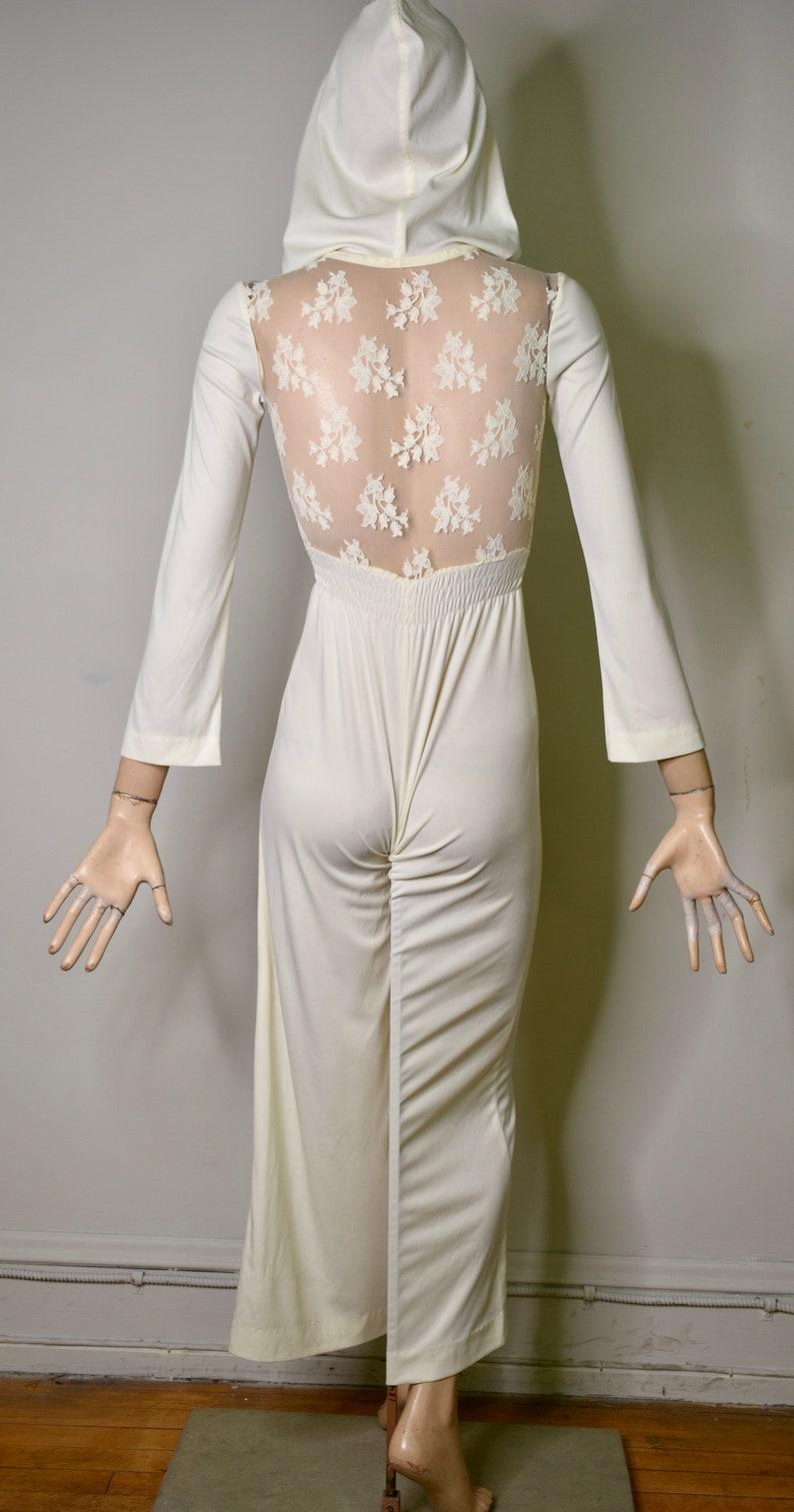 hooded white jumpsuit lace jumpsuit vintage jumpsuit catsuit hooded jumpsuit sheer jumper unitard vintage 70s jumpsuit romper