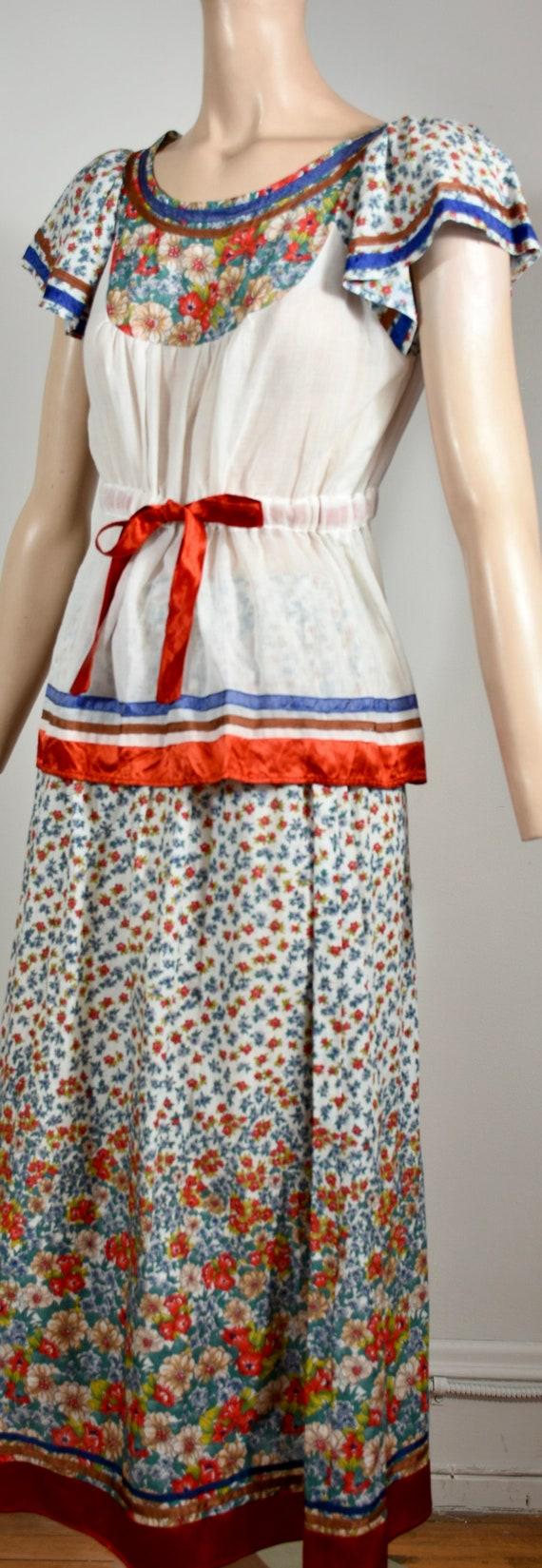 vintage 70s dress, 70s set, floral dress, gauze d… - image 3