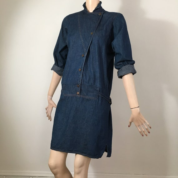 vintage 80s denim, 80s denim dress, denim dress, m