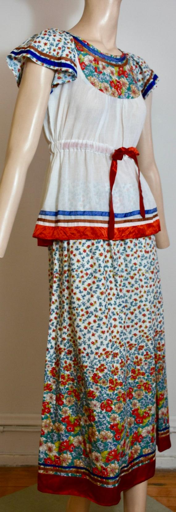 vintage 70s dress, 70s set, floral dress, gauze d… - image 9
