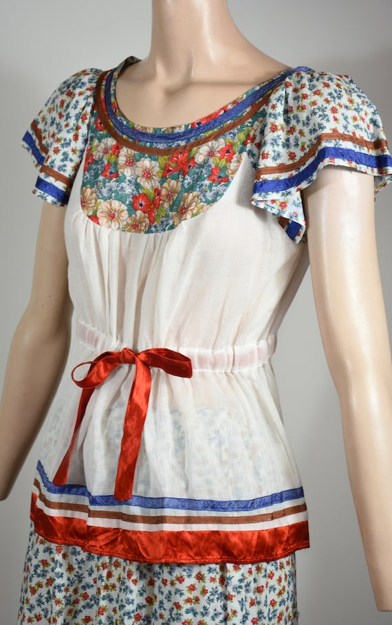 vintage 70s dress, 70s set, floral dress, gauze d… - image 2