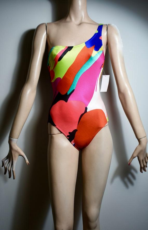 vintage 80s De Weese swim suit, De Weese bathing s
